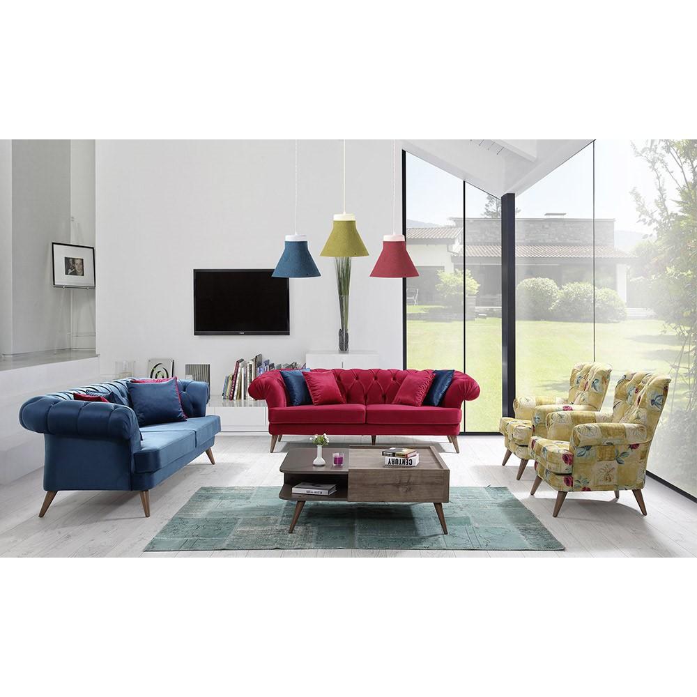 Sofagarnitur rot und blau...